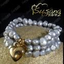 Pulsera 3 Hilos perla gris