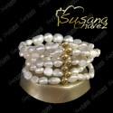 Pulsera 5 hilos perla chica y grande
