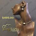 collar cuentas de chapa de oro con calabazo de perla