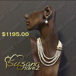Collar 4 hilos perla delgada
