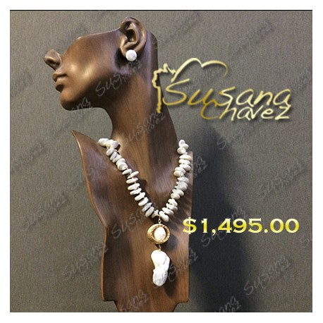 Collar perla plan con dije 2 perlas