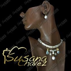 Choker 2 hilos con cascada de perlas