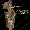 Collar 3 hilos de perla con moño de chapa de oro y perlas naturales