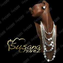 Collar de 5 hilos de perla natural y biwas