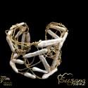 Juego de collar y arete con hoja natural metalizada en chapa de oro con cordón y perlas naturales